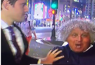 reporter shoves drunk guy