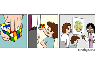 First panel: Hands turning a rubik's cube. Second panel: boy proudly showing off an unsolved rubik's cube to