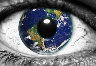 earth in an eye ball