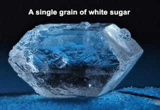 magnified piece of white sugar