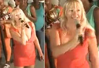 blonde woman doing karaoke