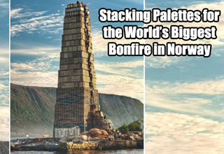 Stacking palettes for the world's biggest Bonfire in Norway