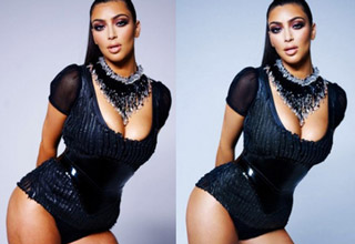 Kim Kardashian before and after photoshop. She looks better after photoshop.