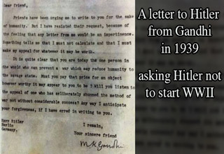 letter from to Hitler from Gandhi in 1939