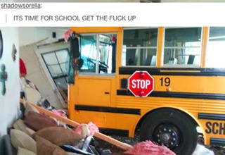 school bus crashed into living