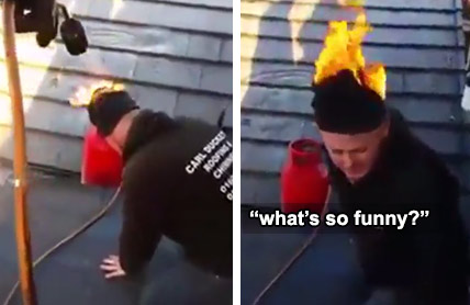 guys prank co-worker by lighting his hat on fire