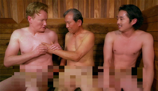 conan obrien and steven yeun at korean spa