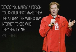 will ferrell in red shirt with microphone