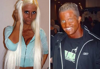 people with fake tans