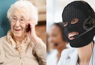 old woman talking to online phone