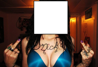 tattoo of the word nick changed to the word dick on girls chest