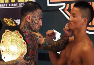 tattooed mma fighter acting like douche during pre-fight match