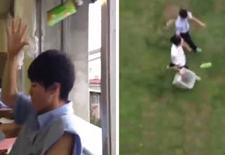 kid throws bottle out the window and lands in trash can outside of building