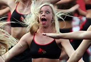 cheerleader making funny face
