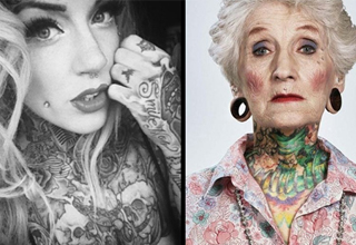 on left is a black and white photo of a hot woman with neck and chest tattoos. on the right is an old woman with neck and chest tattoos.