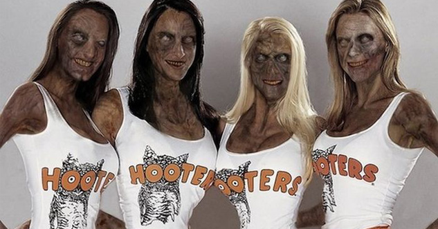 4 Undead Hooters girls that are still kind of attractive, but not attractive enough that you'd let them eat your brains.