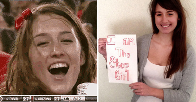 Stop girl on one side smiling. other side shows stop girl now, holding a side that says, 'I am the Stop Girl.' Also she's still hot.