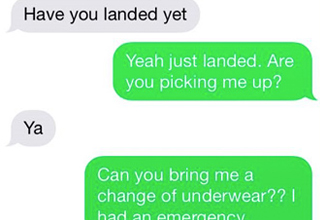 person is trying to pick friend up at airport, but the person at the airport pooped their pants. All of this is conveyed through text messages.