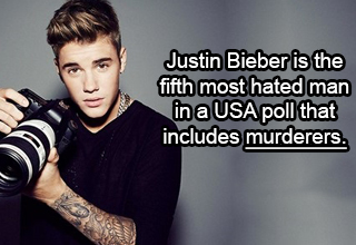 Justin Bieber is the fifth most hated man in a USA poll that includes murderers.