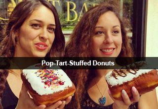 Two women holding Pop-Tart-stuffed donuts.