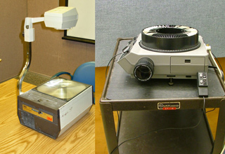 overhead and slide projectors