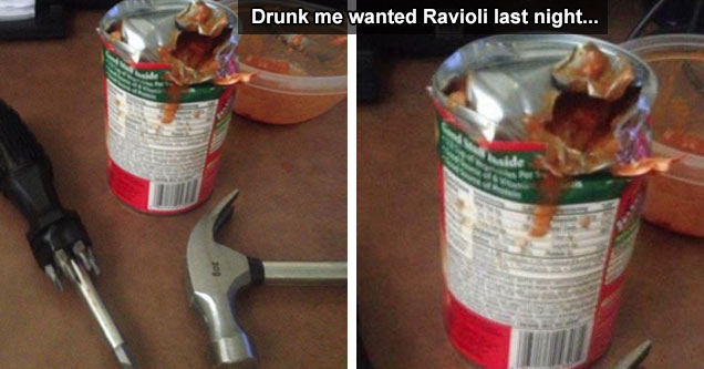 drunk guy destroys ravioli can with hammer and scr