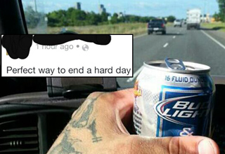 guy driving while drinking bud light beer