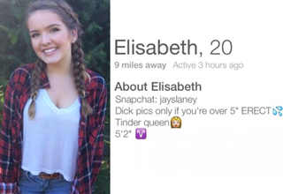 elisabeth, 20 tinder profile dick pics only if you're over 5