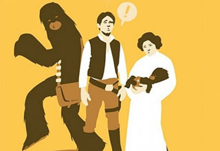 chewbaca sneaking away after han discovers chewbacca baby