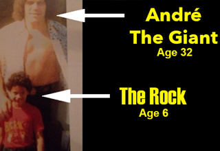 Andre The Giant and a child The Rock standing together around 1978