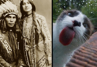 native americans and a cat