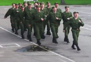 group of russian army soldiers marching