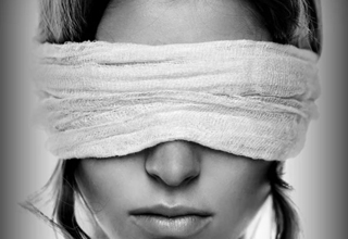 woman with blindfold on