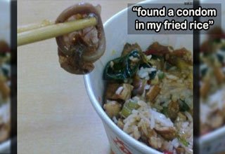 person found a condom in their fried rice