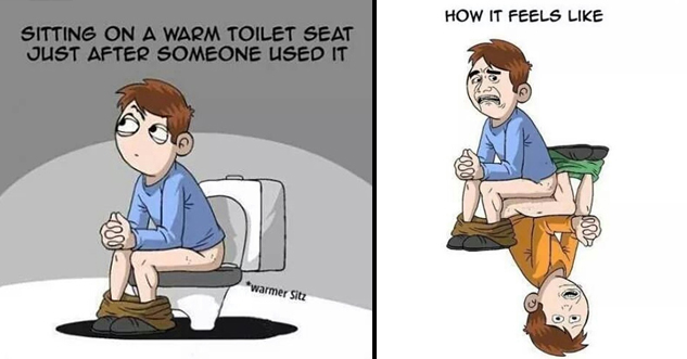 Guy sitting on a warm toilet feels like touching thighs with another man.