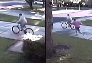 man steals bike and is tackled by the house owner