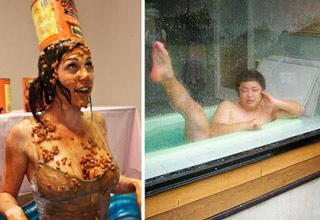 girl covered in baked beans wearing can as a hat and man bathing publicly