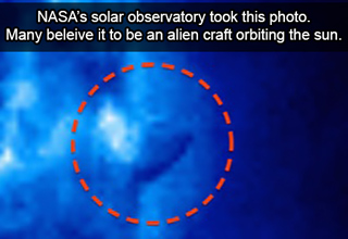 solar flare or alien craft orbiting sun