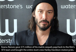 keanu reeves gave $75 million of his matrix paycheck to films creaw
