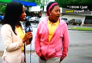 girl talking to news reporter peed herself on live tv