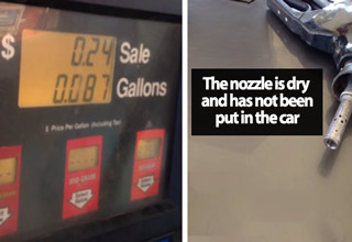 gas station pump starts running up the bill before nozzle has been turned on