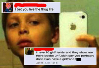 kid taking selfie with iphone thinks hes a thug