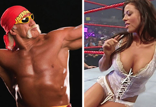 Hulk Hogan flexing and Candice Michelle looking sexy in lingerie.
