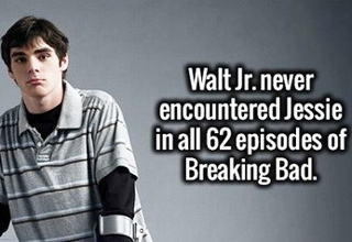 Walt jr never encountered jessie in all 62 episodes of br