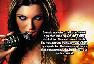 hot woman pulling grenade pin with t
