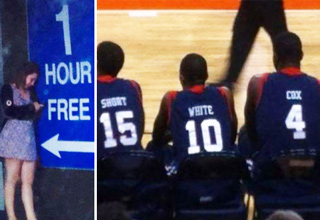 girl next to 1 hour free sign, basketball player jeresys short white cox