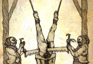 A drawing of two men sawing a tied up man in half.