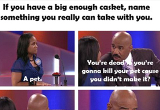 Steve Harvey gives a woman a hard time on the Family Feud because she'd kill her pet when she dies.