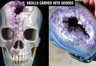 skulls carved into geodes