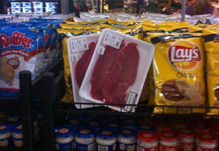 Somebody put refrigerated meat in the chips isle.